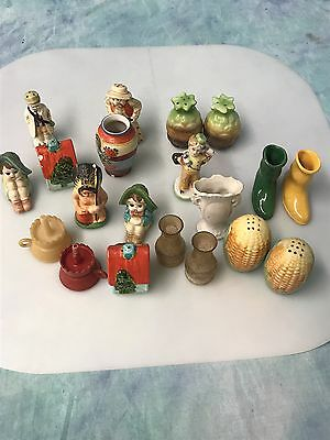 Vintage lot of Salt Pepper Shakers Miniatures Boots Indian Corn Occupied Japan