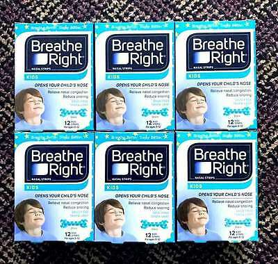 6 Packs of 72 Nasal Breathe Right Kids Reduce Snoring Congestion Strip New Box