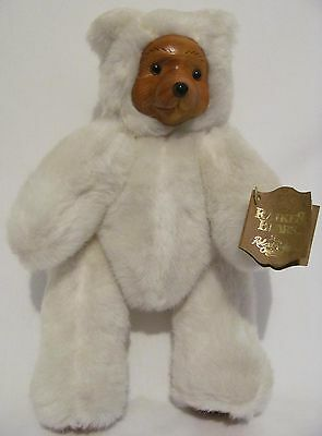 Robert Raikes Original Off White Polar Bear Wooden Face Paws Applause 1988 Toy