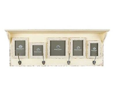 Antique Style Cream Wall Shelf with 5-Frames & 4-brass Hooks, Shabby Chic New