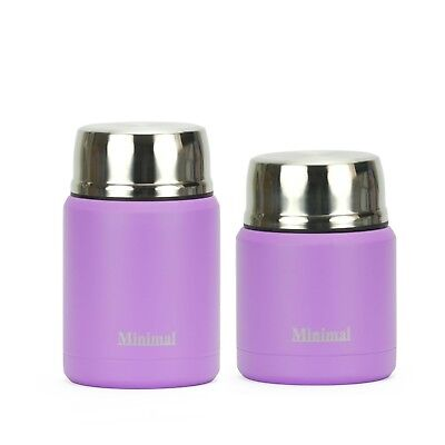 (Lavender) - Minimal Vacuum Insulated Stainless Steel Food Jar Container with