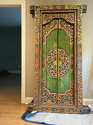 Custom India Hand Carved Antique Decorative door in a wooden frame