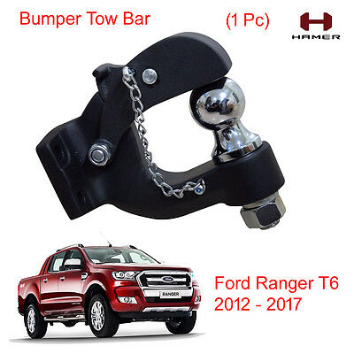 Bumper Tow Bar Towbar Ball Hamer Matte Black 1 Pc For Ford Ranger T6 2012 - 2017