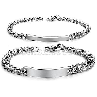 One Pair Couples Stainless Steel Classical Charm Bracelet Chain Valentine's Gift