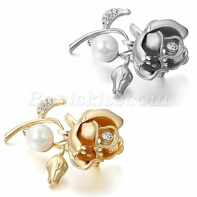 Charm Metal Imitated Pearls Rose Flower Design Womens Elegant Brooch Pin Corsage