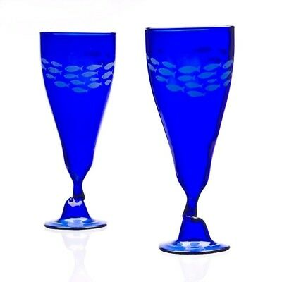 Recycled Wine Bottle Glasses - Blue. Green Glass Company. Delivery is Free