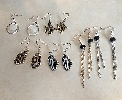 Bulk Lots 6 Pairs Dainty Silver Gold Plated Dangle Earrings, Multicolour