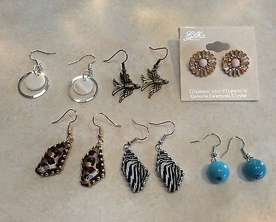 Bulk Lots 6 Pairs Beautiful Silver Gold Plated Dangle Earrings, Multicolour
