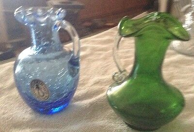 2 Small Pitchers Blue And Green Hand blown
