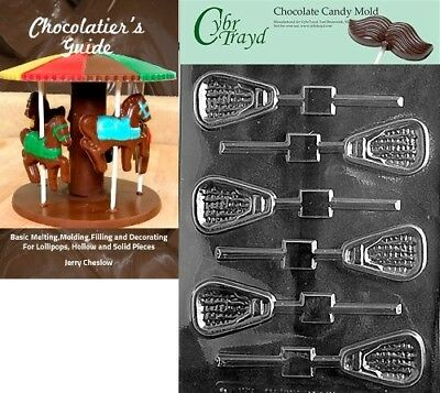 Cybrtrayd Lacrosse Lolly Sports Chocolate Candy Mould with Chocolatier's Guide