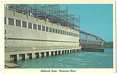 Vintage Postcard Pickwick Dam And Lock Bridge Tennessee River