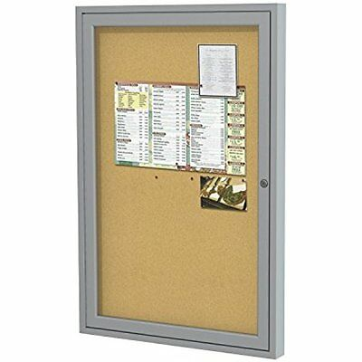 "Bulletin Boards 36""x24"" 1-Door Satin Aluminum Frame Enclosed Bulletin Board, In"