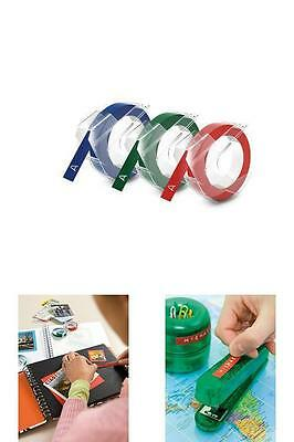 """DYMO Embossing Tape Red Green Blue 3/8 """" Self Adhesive Label Glossy Refill New"""