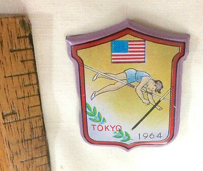 1964 Vintage Tokyo Olympic Games Pole Vaulting Athletics Usa Tin Pin Badge Nm!