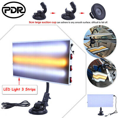 AU Paintless Dent Removal Repair LED Light 3 Strips PDR Line Board Lamp Tool Kit
