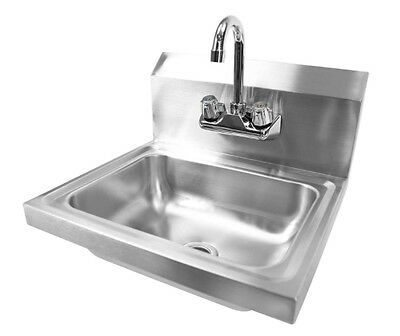 Stainless Steel Kitchen Hand Wash Sink Wall Hung Faucet Utility Washing Station