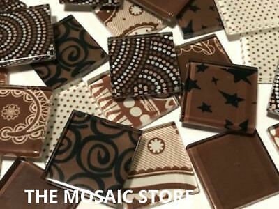 Handmade Brown Glass Mosaic Tiles 2.5cm - Art Craft Supplies