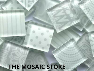 Handmade White Glass Mosaic Tiles 2.5cm - Art Craft Supplies