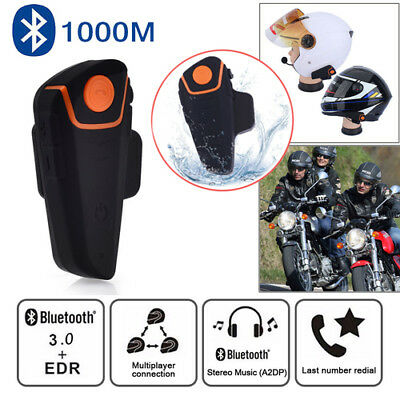 1000M BT Motorcycle Helmet Bluetooth FM Headset Motorbike Intercom Interphone UK