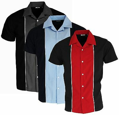 Mens Bowling Shirt Grey Red Blue Options Open Neck Ten Pin 50's Rockabilly Relco