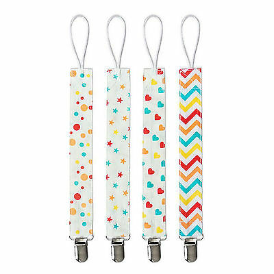 4*New born Baby Kids Boys Girls Soother Nipple Strap Dummy Pacifier Clip Holder
