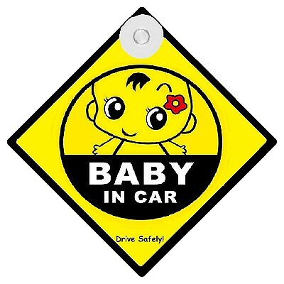 BABY IN CAR - CAR SIGN - MADE IN AUSTRALIA - with Suction Cup FREE POST