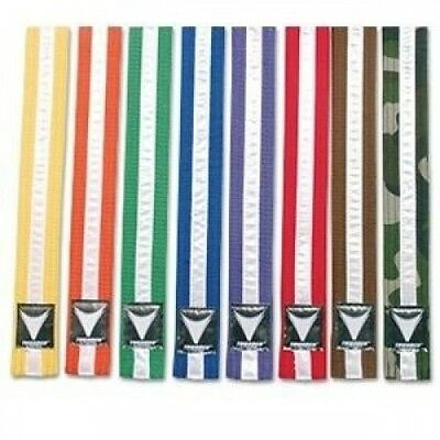 ProForce Thunder White Stripe Double Wrap Karate Belts - Yellow - Size 3. Shippi