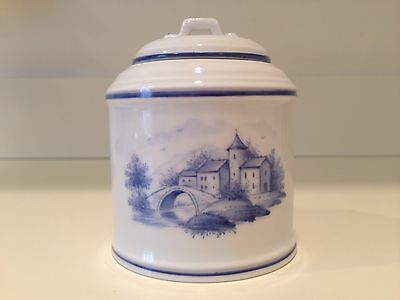 Hochst Blue Scenic Hand-Painted Porcelain Covered Jar Made In Germany New