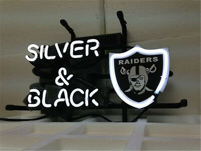 "New Oakland Raiders Silver And Black Neon Light Sign 20""x16"""