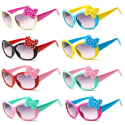 Anti-UV Sunglasses Kids Boys Baby Girls Cartoon 8 Color Goggle Glasses Bow NEW