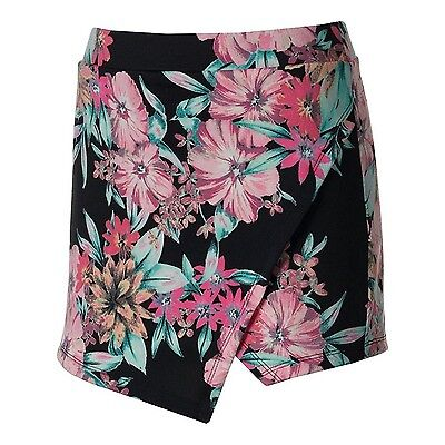 (Small) - About A Girl Juniors Skorts, Black/Poppy Print. Shipping Included