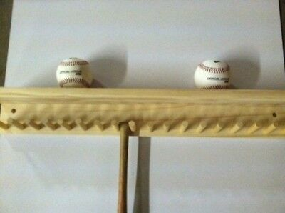 Baseball Bat Rack and Ball Holder Display Natural Finish Meant to Hold up to 17