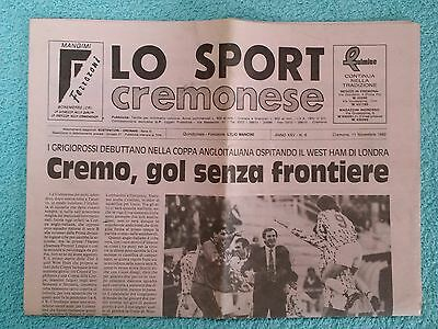 1992 - CREMONESE v WEST HAM UTD PROGRAMME - ANGLO ITALIAN CUP