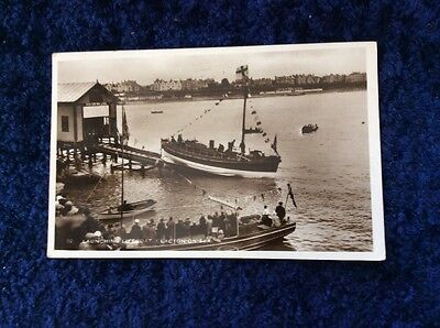 RPPC Real Photographic Postcard - 'Launching The Lifeboat - Clacton On Sea'.