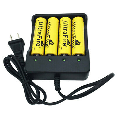 4X 18650 3.7V 9800mAh Li-ion Rechargeable Battery&Fast US Plug 4Slots Charger