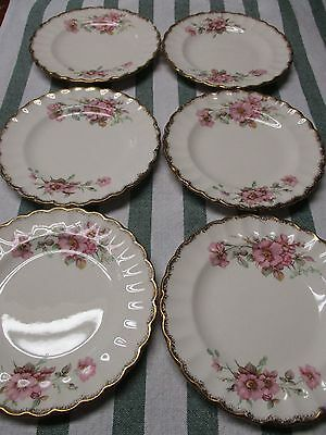 Limoges American Set of 6 Bread and Butter Plates Wild Rose Pattern 22K Gold Tri
