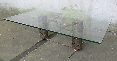 SILAS SEANDEL STYLE GLASS & METAL MID CENTURY COFFEE TABLE brutalist paul evans