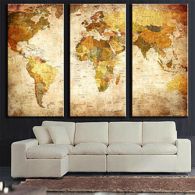 Home Decor 3 Panel Modern Oil Painting World Map Wall Picture Unframed Canvas