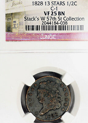 1828 VF25 13 Stars Classic Head Half Cent C-1 1/2c graded by NGC as Very Fine!