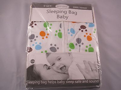 Just Cute with 2 Way Zipper 100% Cotton Baby Swaddle Bear Paw 3-12 mo Free Ship