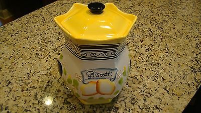 Large Nonni's Biscotti/Cookie Jar Canister with Lid + Hand Painted