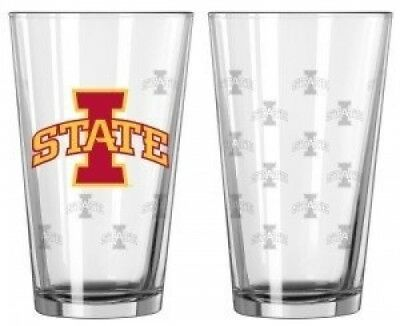 Iowa State Cyclones Satin Etch Pint Glass Set. Caseys. Shipping Included