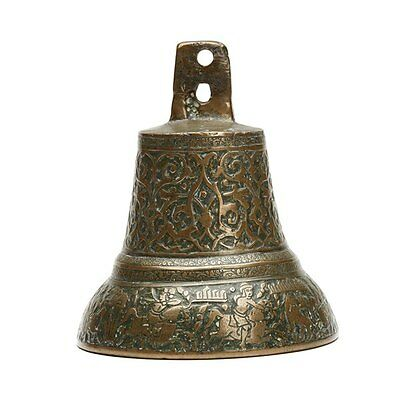 Antique Middle Eastern Bronze Hunting Scene Bell 19Th C.