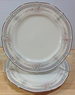 Noritake Rothschild 2 Bread Butter Plates Pink Floral Baroque Blue Band China