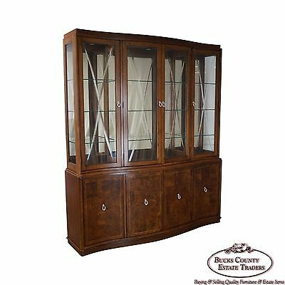 Thomasville Bogart Collection Burl Wood Etched Glass China Breakfront Cabinet