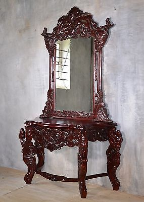 Rococo Dressing Table Mirror Console Table Mahogany Wood Vintage Baroque