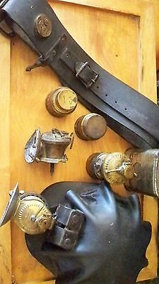 Rare Coal Miners Turtle Shell Hat, Miners Belt, Two Auto Lite Lamps,refrill Cans