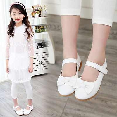 New Baby Girls Party Dress Kid Spring Flat Heels Shoes Girls Bow Princess Shoes