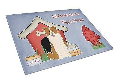 Caroline's Treasures BB2873LCB Dog House Collection Border Collie Red White