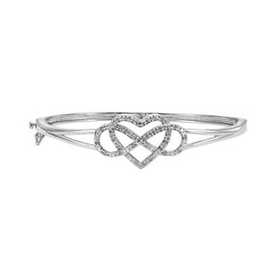 """1/4 ct Natural Diamond Infinity 7 1/4"""" Bracelet in .925 Sterling Silver"""